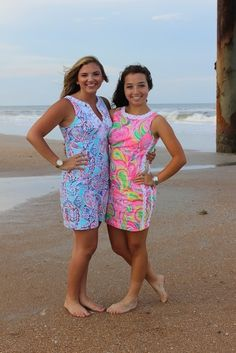 Seaside shifts via @kellylechner's Instagram. Shown are the Lilly Pulitzer Mila Lace Detail Shift Dress and the Lilly Pulitzer Gabby Shift Dress.