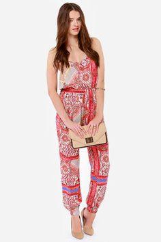 ef862bd45c8 Bustling Bazaar Red Print Jumpsuit at LuLus.com! 48.00 Printed Jumpsuit