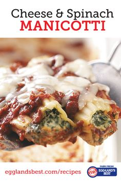 Cook this delicious dinner dish for you and your family this weekend. #Egglandsbest #Dinner #Manicotti #Pasta #Italian #Recipe