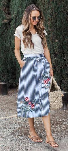 summer ootd t-shirt + skirt + bag
