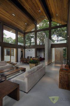 Casa de Campo Quinta do Lago - Tarauata : Salas de estar campestres por Olaa Arquitetos