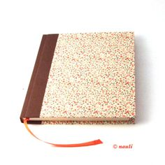 floral Diary square Notebook Poetry Album apricot flowers от nauli