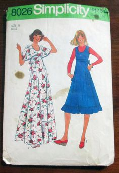 """1970s Boho Sundress Dress or Jumper in 2 lengths Simplicity 8026 Size 14 Bust 36"""" by retroactivefuture on Etsy"""