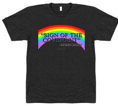 Women's Rainbow Covenant T Shirt from the book of Genesis Book Of Genesis, The Covenant, Rainbow, Christian, T Shirts For Women, Mens Tops, Fashion, Rain Bow, Moda