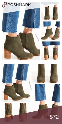 """Urban Outfitters Moss Short Suede Boots Perfect ankle boots with curved stretch paneling at each side of the heel. Suede uppers feature a antique gold-toned zip closure at the back with a cushioned footbed for added comfort and finished with a stacked heel. New in box from Urban Outfitters. U.S. 9 or U.S. Not available in 1/2 sizes. Round up if 1/2 size needed. Color = Moss.  Content + Care - Suede, spandex, rubber - Spot clean - Imported  Size - Heel height: 3.25"""" - Shaft Height: 4.5"""" Urban…"""