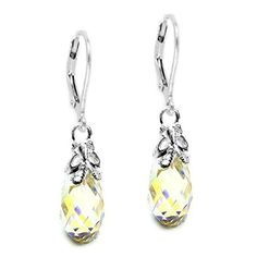 Queenberry Swarovski Elements Aurora Borealis Briolette Sterling Silver Bufferfly Leverback Earrings ** Visit the image link more details.(This is an Amazon affiliate link)