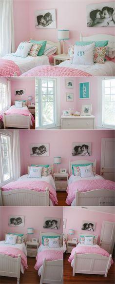 quarto pequeno para duas meninas com duas camas Girls Bedroom, Sister Bedroom, Big Girl Bedrooms, Little Girl Rooms, Diy Bedroom, Shared Bedrooms, Coral Bedroom, Bedroom Colors, Little Girls Room Decorating Ideas Toddler