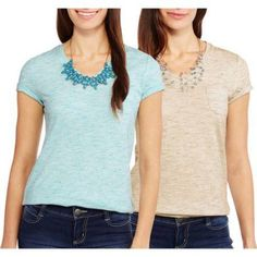 Faded Glory Women's Essential Short Sleeve V-Neck Pocket T-Shirt, 2 Pack Value Bundle, Size: Small, Multicolor