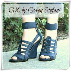 """💛🎉SALE 💚👠GX by Gwen Stefani Ayaka wedge. 🌟Bohemian shoe with an edgy twist. The sculpted wedge features knotted cord details, beautiful shade of blue, and strappy look. Soft faux leather and faux nubuck.  🌟Details: heel 4-1/2"""", the sole is pretty thick, it makes the heel 4-1/4"""". Runs a bit narrow. Comfy! GX by Gwen Stefani Shoes Sandals"""