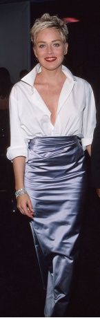 Sharon Stone...  wearing her husband's white shirt,   Truly Classic.   Truly Timeless  PattyonSite
