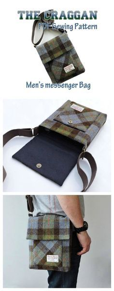 The Craggan mens messenger bag sewing pattern. This pattern shows you how to easily make a men's tough crossbody bag. It has an adjustable crossbody strap and magnetic snap closure. A generous size, great for everyday use, large enough to accommodate an iPad and all his essentials and strong enough for the hardest working man!