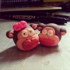 Silly Monkeys. #art #arts #craft #crafts #diy #clay #modelling #model #models #sculpture #sculptures #sculpting #polymer #monkey #monkeys
