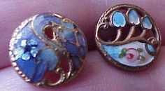 2 Different small Antique Pierced Enamel buttons