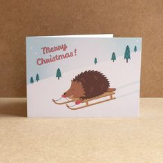 Henry the Hedgehog Illustrated Christmas Cards - Cute Hedgehog Xmas Cards - Pack of 6 (4.50 GBP) by FionaRobGraphics
