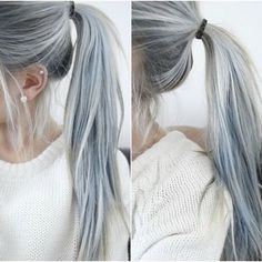 Silver hair in a pony -- Women Are Choosing To Dye Their Hair Grey For The 'Granny Hair' Trend (Photos) follow for more :) @mz9788