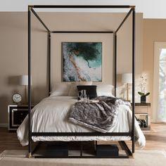 Shop Industrial Black Canopy Bed by Baxton Studio Size - Queen - Overstock - 14548061 Black Canopy Beds, Modern Canopy Bed, Metal Canopy Bed, Canopy Bed Frame, Modern Bedroom, Panel Headboard, Contemporary Bedroom, Stylish Bedroom, Romantic Bedroom Decor