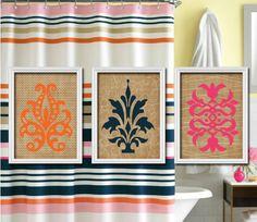 Kate Spade Inspired Flourish Tan Cream Orange Navy Fuchsia Pink Chevron Pattern Artwork Set of 3 Bathroom Prints Wall Decor Art Picture