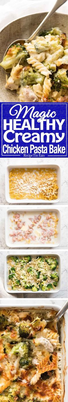 This is how to make a HEALTHY Creamy Pasta Bake in one baking dish, from scratch. Loaded with broccoli, 5 minutes prep then just pop it in the oven. This Ultra Lazy HEALTHY Creamy Chicken Pasta Bake is magical! www.recipetineats.com