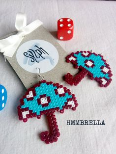 uirky turquoise colored pixelart Hmmbrella earrings made of Hama Perler beads with white polkadots, OOAK gift to brighten up wet days! by SylphDesigns