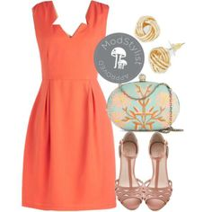 Would you add anything to this outfit? Take anything away? #coral #clutch #stappysandals