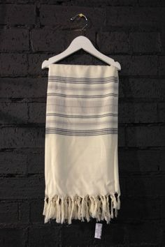 Carousel Standard Turkish Towels in Cream Grey Stripe