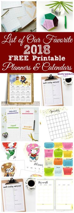 List of our Favorite Free Printable Planners & Calendars for 2018