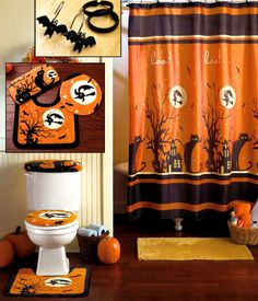 Halloween Decor for the bathroom  I love Bat shower hooks set up halloween Bathroom Pinterest