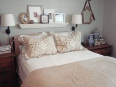 love the shelf above the bed....also  step by step directions on how to make your own pillow shams
