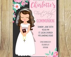 Printable First Holy Communion Invitation bespoke girl Eye Color, Hair Color, Envelopes, Holy Communion Invitations, Ideas Para Fiestas, First Holy Communion, Lets Celebrate, Party Printables, Holidays And Events