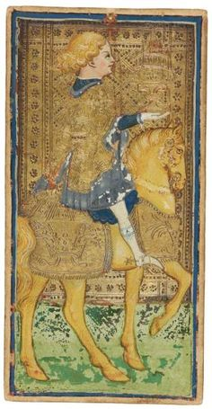 The Knight of Cups  | Visconti-Sforza Tarot Cards | 1450-1480 | Morgan Library & Museum | Museum #: MS M.630 (no. 1)