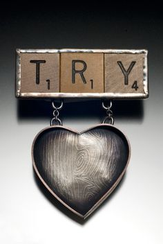Try to Love Me (18 points, Triple Word Score), oxidized etched sterling silver, wood Scrabble tiles, steel Scrabble Tiles, Dog Tag Necklace, Jewelry Design, Steel, Sterling Silver, My Love, Wood, Woodwind Instrument, Timber Wood
