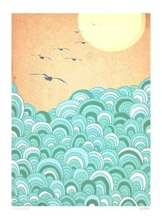 Over the sea Art Print A4 by lauraamiss on Etsy, €10.00