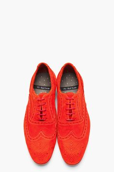 PS PAUL SMITH Red Dip Dyed Suede Wingtip Miller Brogues
