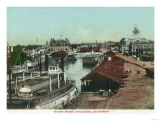 Postcard, Stockton, California late 1800's.  Showing second courthouse and downtown waterfront.