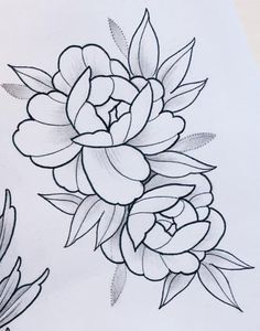 Possible to stitch to light lines using a lighter weight thread then stitch the dark lines with a heavier thread extreme accuracy would be needed but the result should be exceptional – Artofit Flower Tattoo Drawings, Rose Drawing Tattoo, Flower Tattoo Designs, Tattoo Sketches, Flower Tattoos, Art Drawings, Rosa Tattoos, Flower Sketches, Floral Drawing