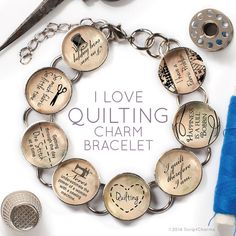 """I Love Quilting - Glass Charm Bracelet with Silver Singer Sewing Machine Charm by ScriptCharms  Is the first place people look for you the local quilt shop? If you LOVE quilting, then you need to have the """"I Love Quilting"""" charm bracelet! What a great gift for your quilting sisters!"""