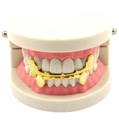 Custom 14k Gold Plated Hip Hop Half Fangs Teeth Grillz Caps Top & Bottom Grill