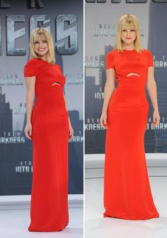 Alice Eve stole the show on the Star Trek Into Darkness in a floor-sweeping red Emilio Pucci gown [WENN]