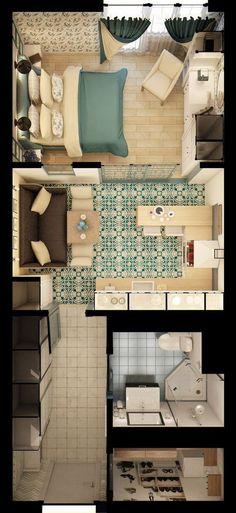 Apartment Studio Bedroom Floor Plans Ideas For 2019 Modern House Plans, Small House Plans, House Floor Plans, Apartment Layout, Apartment Design, Apartment Ideas, Home Design Plans, Plan Design, Small Apartments