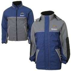 San Diego Chargers Quadrant Jacket with Reversible Inner Jacket - 2 Jackets in 1 - Navy Blue/Gray