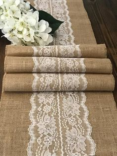 Burlap Table Runner with Ivory or White Lace Center Farmhouse Rustic Table Decor Vintage Country Garden Wedding Reception 14 width Farmhouse Table Decor, Rustic Table, Rustic Chic, Farmhouse Garden, Farmhouse Style, Rustic Outdoor, Diy Table, Rustic Decor, Burlap Lace Table Runner