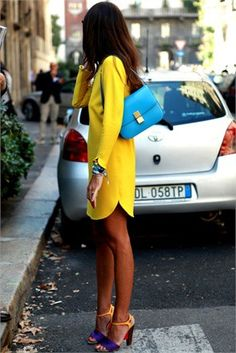 Love the yellow shift dress and color block shoes!