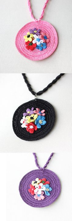 Crochet Necklace with Turkish Crochet oya