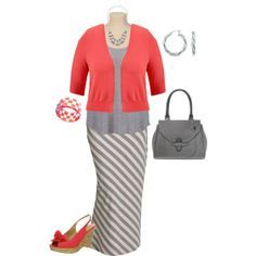 "Love the coral mixed with the striped skirt on this ""plus size outfit"" by penny-martin on Polyvore"