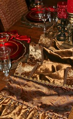 TABLE RUNNERS by Reilly-Chance Collection:  Bronze velvet and damask runner-201