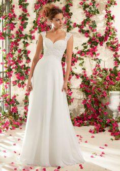 Venice Lace Appliques on Delicate Chiffon Mori Lee Bridal Wedding Dress | Morilee