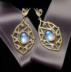 Laurie Kaiser moonstone and diamond earrings.