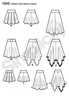 Simplicity Patterns - 1500 - Misses' Skirts with Length Variations - Misses' skirt has side zipper and comes in four lengths. Make a shorter skater skirt, a medium or longer length gore skirt or a bohemian skirt with a shark bite hem. Get creative adding fringe, trim & buttons.