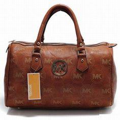 Michael Kors Logo Leather Satchel Brown