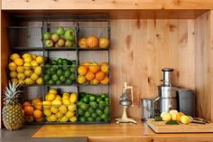 La Condesa juice bar/station via CA Home+Design {love the fruit storage}